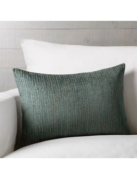 "Leona Teal Jacquard Pillow 22""X15"" by Crate&Barrel"