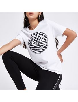 White 'La Moda' Print Fitted T Shirt by River Island