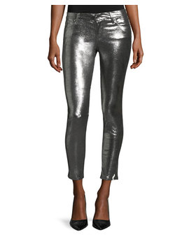 Prince Metallic Leather Ankle Pants by Neiman Marcus