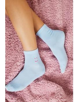 Uo Embroidered Motif Blue Socks by Urban Outfitters