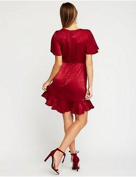 Satin Faux Wrap Dress by Charlotte Russe