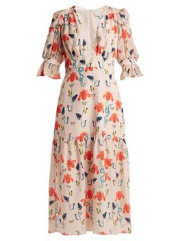 Dhalia Floral And Firefly Print Crepe Dress by Borgo De Nor