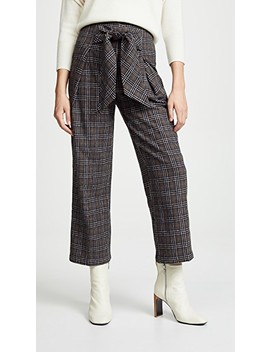 Plaid Tie Front Trousers by Moon River