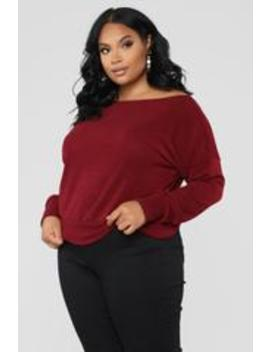 Staying In For The Night Sweater   Burgundy by Fashion Nova