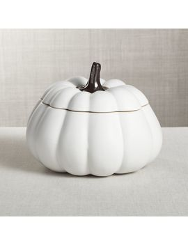 White Pumpkin Serving Bowl With Lid by Crate&Barrel