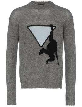Pradamonkey Intarsia Wool Jumperhome Men Prada Clothing Knitted Sweaters by Prada
