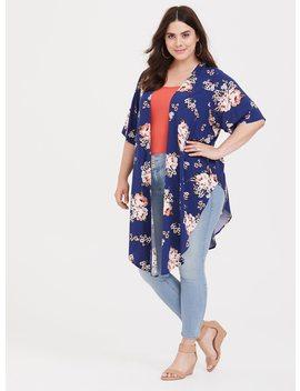 Blue Floral Split Side Challis Kimono by Torrid