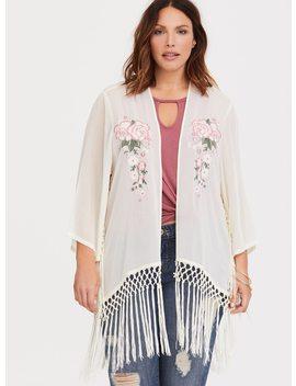 Ivory Pink Floral Fringe Kimono by Torrid
