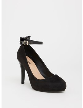 Black Faux Suede Pump With Patent Bow (Wide Width) by Torrid
