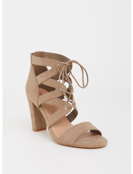 Taupe Caged Sandal (Wide Width) by Torrid