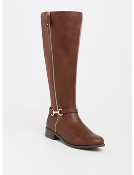 Brown Faux Leather Riding Boot (Wide Width) by Torrid