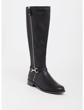 Black Faux Leather Riding Boot (Wide Width) by Torrid