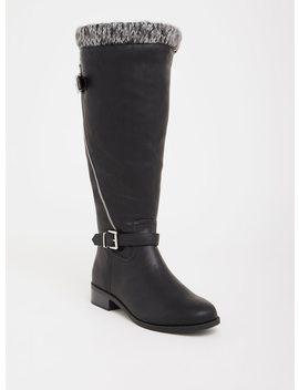 Black Knit Trimmed Knee Boot (Wide Width) by Torrid