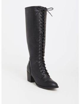 Black Lace Up Knee Boot (Wide Width) by Torrid