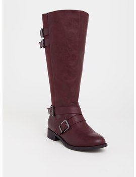 Wine Faux Leather Buckle Boot (Wide Width & Wide To Extra Wide Calf) by Torrid