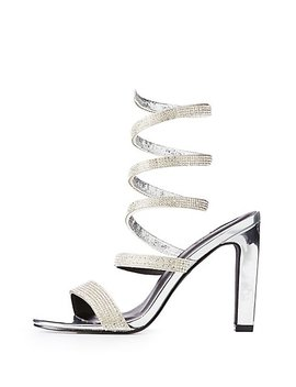 Crystal Wrap Open Toe Sandals by Charlotte Russe