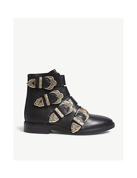 Flat Leather Ankle Boots by Maje