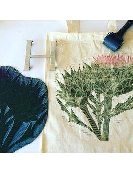 Artichoke   Original Limited Edition Lino Print Tote Bag by Hannah Turlington