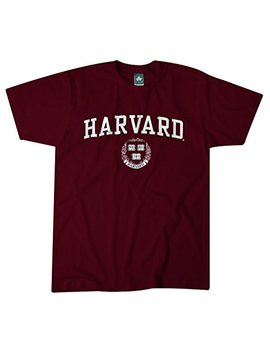 Ivysport Harvard University Short Sleeve Classic Fit Cotton T Shirt With Crest Logo, Crimson by Ivysport