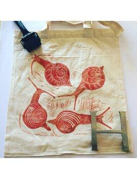 Snails   Original Limited Edition Lino Printed Tote Bag by Hannah Turlington