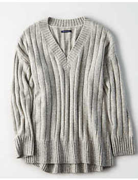 Ae Ribbed V Neck Pullover Sweater by American Eagle Outfitters