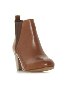 Dune   Brown Leather 'pamella' Mid Block Heel Ankle Boots by Dune