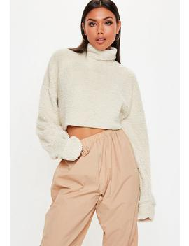 Cream Borg High Neck Cropped Sweatshirt by Missguided
