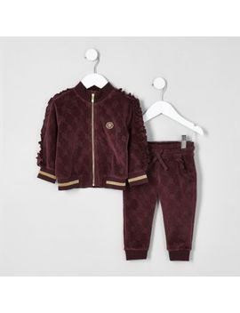Mini Girls Burgundy Frill Velour Tracksuit by River Island