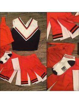 """5pc Broncos  Real Cheerleading Uniform 36""""28"""" Adult Med/Lrg Flyaway by Cheerleader"""