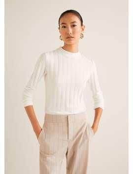 Bavlněné Tričko V žebrovaném Vzoru by Mango