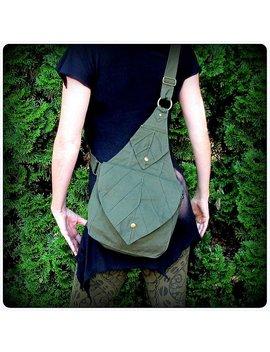 Leaf Bag Backpack Book Messenger Purse ~ Green Brown Black Canvas ~ Elven Forest  Larp Legend Of Zelda Link Elf Garb  Yule by Talismana Designs