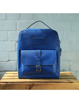 Sal Eleather Backpack Handmade Leather Backpack Blue Backpack Handmade Backpack Autumn Backpack Backpack Casual Leather Backpack  Laptop Bag by Poklazha