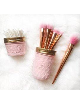 Soft Pink Makeup Brush Holder, Makeup Organiser, Baby Pink Mason Jar Decor, Makeup Storage, Rose Gold Desk Accessories, Pen Pot, Ball Mason by Pina Colada Crafts