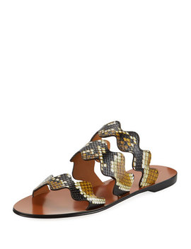 Flat Wave Scalloped Slide Sandals by Chloe