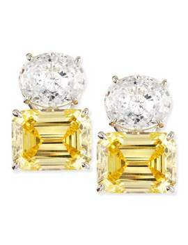 White Oval & Canary Emerald Cut Stud Earrings by Fantasia By De Serio