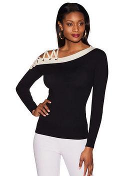 Asymmetric Lace Up Colorblock Sweater by Boston Proper