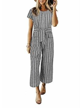 Cosygal Women Striped Linen Short Sleeves Wide Leg Jumpsuit Romper With Zip Pockets Belt by Cosygal