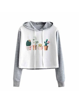 Hattfart Sweatshirt,Fashion Cute Women Short Hoodie Sweatshirt Jumper Sweater Crop Top Pullover Tops by Hattfart