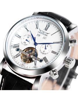 Jaragar Luxury Automatic Mechanical Wrist Watch Men's Black Leather Calendar+Box by Jaragar