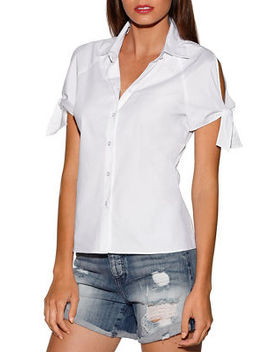 Tie Sleeve Cold Shoulder Shirt by Boston Proper