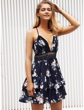 Floral Print Backless Tiered Layer Cami Dress by Romwe