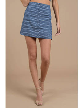 Lucca Couture Chelsea Blue Button Front Mini Skirt by Tobi