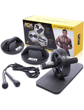 Asm Fitness Box  Ab Wheel Roller With Thick Knee Pad Mat, Rotational Push Up Bar / Pushup Stand, Skipping Rope. Premium Home Gym Set by Asm Fitness