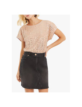 Oasis Sequin Plisse Top, Mid Pink by Oasis