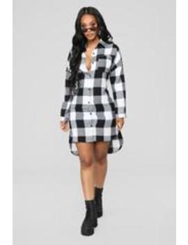 Lumber Jackie Flannel Dress   Black/White by Fashion Nova