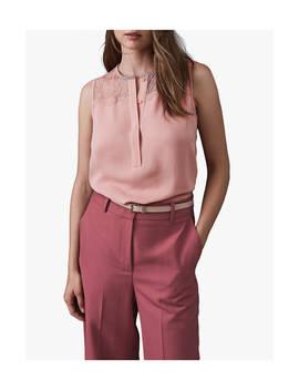 Reiss Kallie Lace Yolk Top, Pale Pink by Reiss