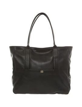 Black Grained Leather Tote Bag by Owen Barry