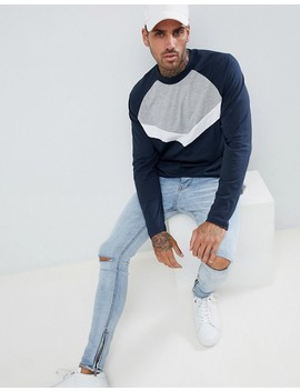 Asos Design Relaxed Longline Long Sleeve Raglan T Shirt With Chevron Colourblock In Navy by Asos Design