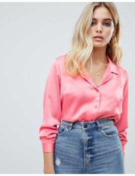 Asos Design Relaxed Satin Shirt by Asos Design