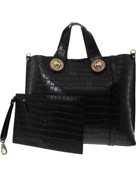 Black Reptile Effect Tote Bag by Versace Jeans
